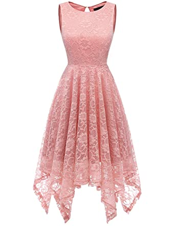 2fd29eafbc9 DRESSTELLS Women s Cocktail Floral Lace Handkerchief Hem Bridesmaid Wedding  Gown Blush S