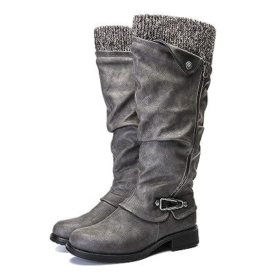 Camfosy Bottes Hautes Femmes Hiver, Bottes de Neige avec Fourrure en Cuir Synthétique à Talons Plats Bas Bottines Cavalière Chaussures Ville Fourrées