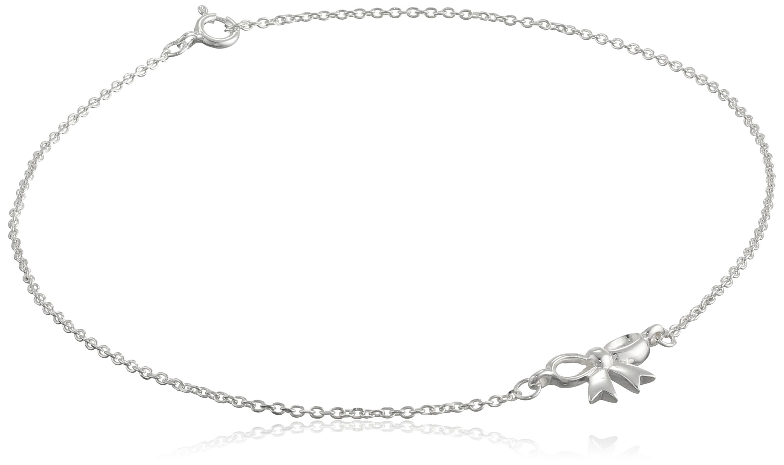 Sterling Silver Bow Cable Chain Anklet, 10''