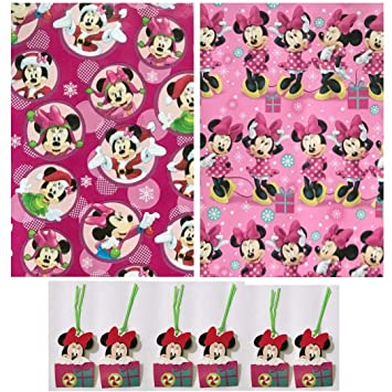 Amazon.com: Minnie Mouse Christmas Gift Wrap, Two Rolls of Wrapping ...