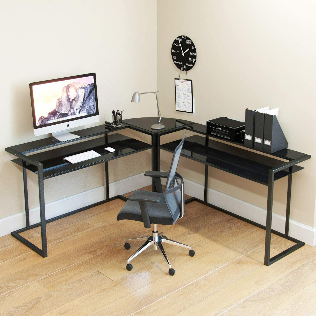 Ryan Rove Belmac Glass Large Modern L-Shaped Desk Corner Computer Office Desk for Small PC Laptop Study Table Workstation Home Office with Keyboard Shelf – Black Frame and Black Glass