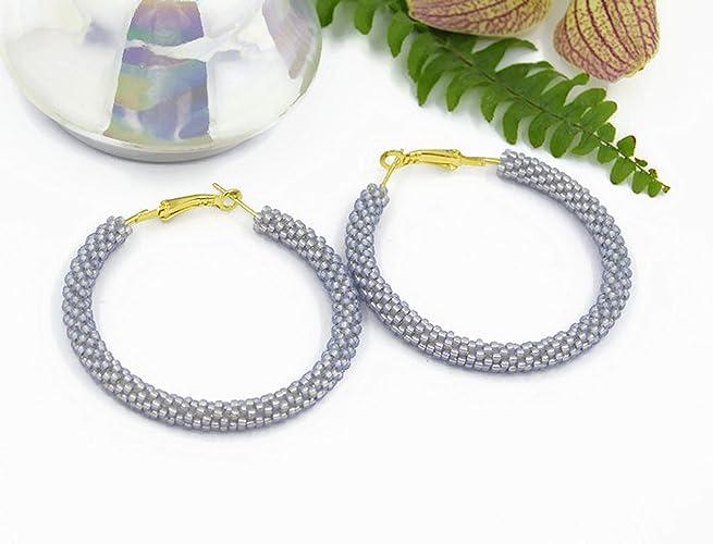533820817 Beaded Hoop earrings gray/Handmade jewelry for women/Beadwork earrings/Geometric  earrings/Big seed beads earrings/Beading/Women's Jewelry/Women's Fashion/