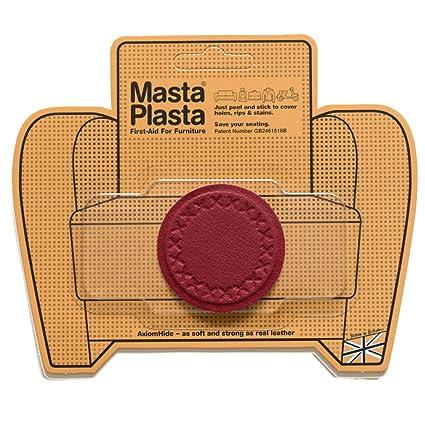 MastaPlasta Reparación Cuero, Polipiel y Skai - Parches Adhesivos Circulo Pequeño (50mm) (Rojo)