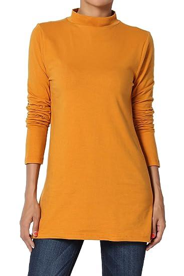 6ca0f412a2c51 TheMogan Women s Mock Neck Long Sleeve Stretch Cotton Top Slim Tee D.  Mustard S