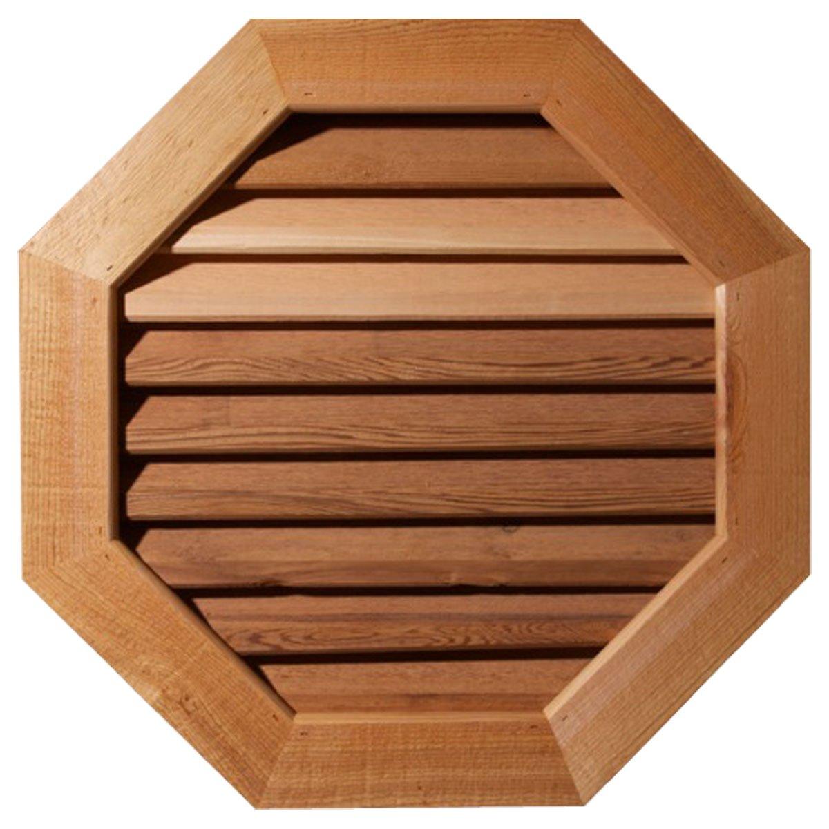 Ekena Millwork GVWOC24X2401SFUWR Unfinished, Functional, Smooth Western Red Cedar with 1-Inch x 4-Inch Flat Trim Octagonal Gable Vent 29-Inch x 29-Inch Frame Size, 24-Inch x 24-Inch