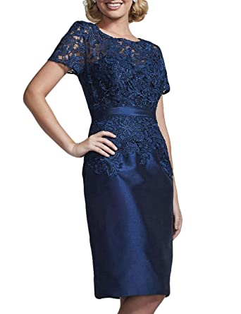 c1064b6c008 OYISHA Womens Knee Length Lace Formal Mother Of The Bride Dresses Sleeve  96MD Navy Blue 2