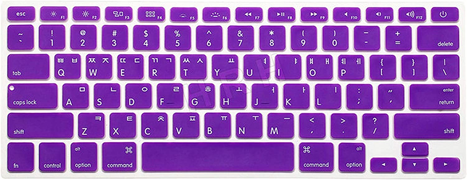 Korean Language US Keyboard Cover Protector Silicone Skin Protective Film Compatible for MacBook Pro Retina 13 15 17