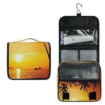 3553051df2e6 Amazon.com : Hanging Toiletry Bag Palm-Trees-Beautiful-Scenery ...