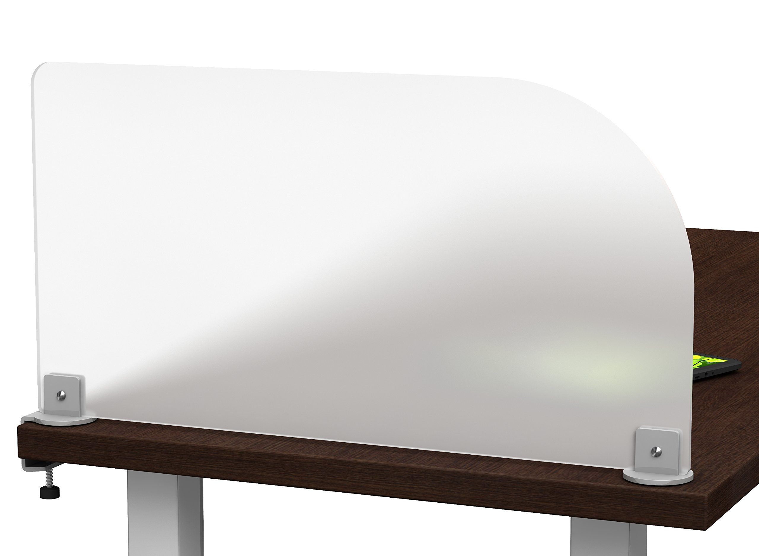 Merge Works Studio Desktop Privacy Panel – Frosted Acrylic Clamp-on Desk Divider –Partition (23'' W x 12'' H- Discontinued)