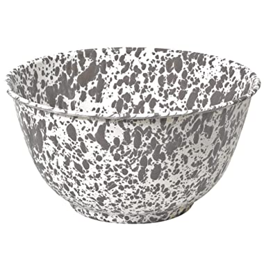 Enamelware Salad Bowl, 4 quart, Grey/White Splatter