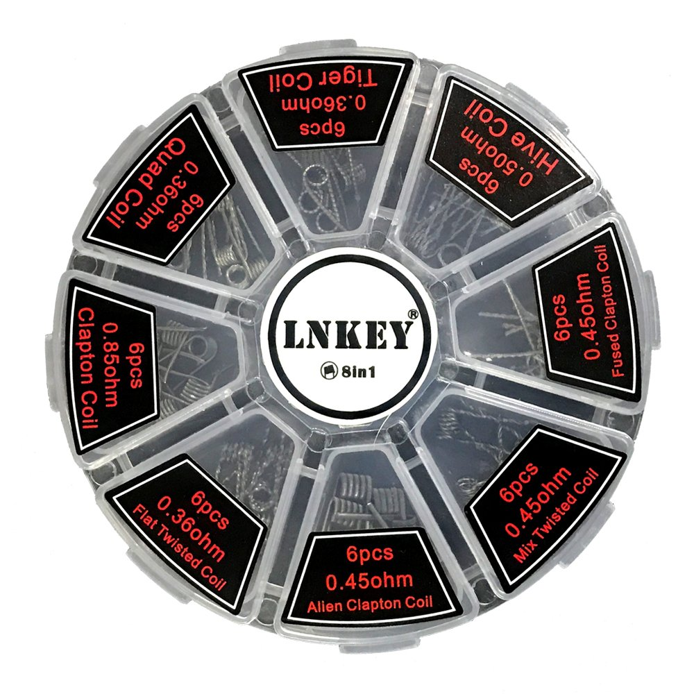 Kit di fili pre-avvolti, Lnkey 48 pz bobina di preriscaldamento della sigaretta elettronica 8-in-1 per RDA RDTA