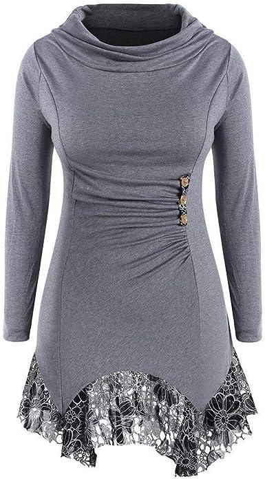 Fall Fashion Ladies Cuello Túnica Redondo Largo Pullover ...