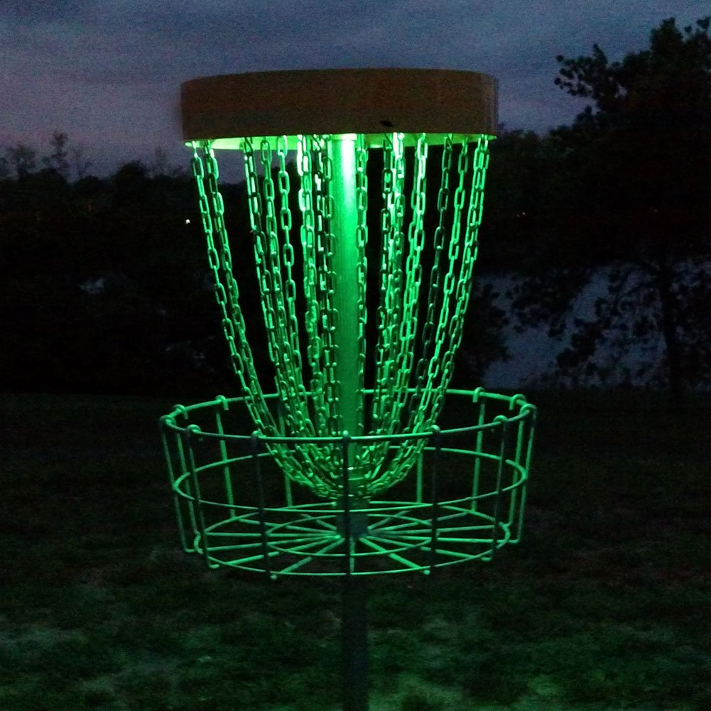 GlowCity Set of 2 LED Lights for Disc Golf Basket, Multi Colored, Remote Controlled, Waterproof, Includes Batteries and Adhesive Fastener to Attach (Basket Not Included) by GlowCity