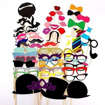 58pcs Juego de Accesorios de Photocalls Máscaras Disfraces para Boda Festival Fiesta DIY bigote gafas boca corbata Familia Navidad cumpleaños [Model: X8.2] ...