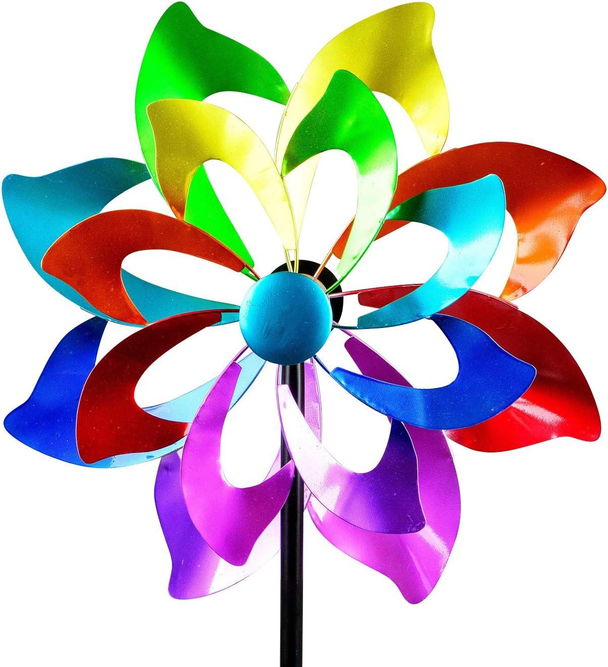 dekojohnson - Molinillo de viento XXL para el jardín de metal, diseño de flores, molino de viento, doble lila/azul/rojo/verde, 166 cm grande: Amazon.es: Jardín