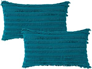 Set of 2 Striped Fringes Boho Decorative Throw Pillow Covers Set, Cotton Linen Jacquard Pillow Cases for Couch Sofa Bedroom Living Room, Home Decor Lumbar Pillowcase, 12x20 Inch, Teal