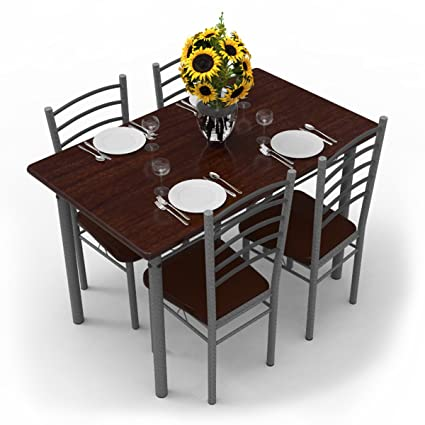 Forzza Leo Four Seater Dining Table Set (Dark Walnut)