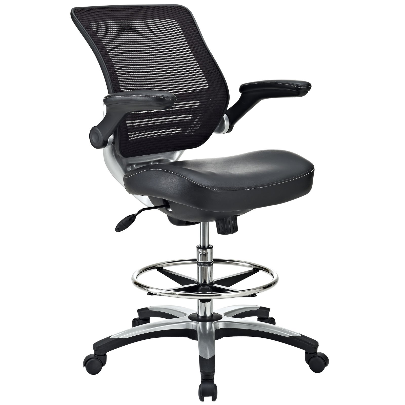 Modway Edge Drafting Chair In Black Vinyl - Reception Desk Chair - Tall Office Chair For Adjustable Standing Desks - Flip-Up Arm Drafting Table Chair by Modway