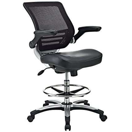 amazon com modway edge drafting chair in black vinyl reception
