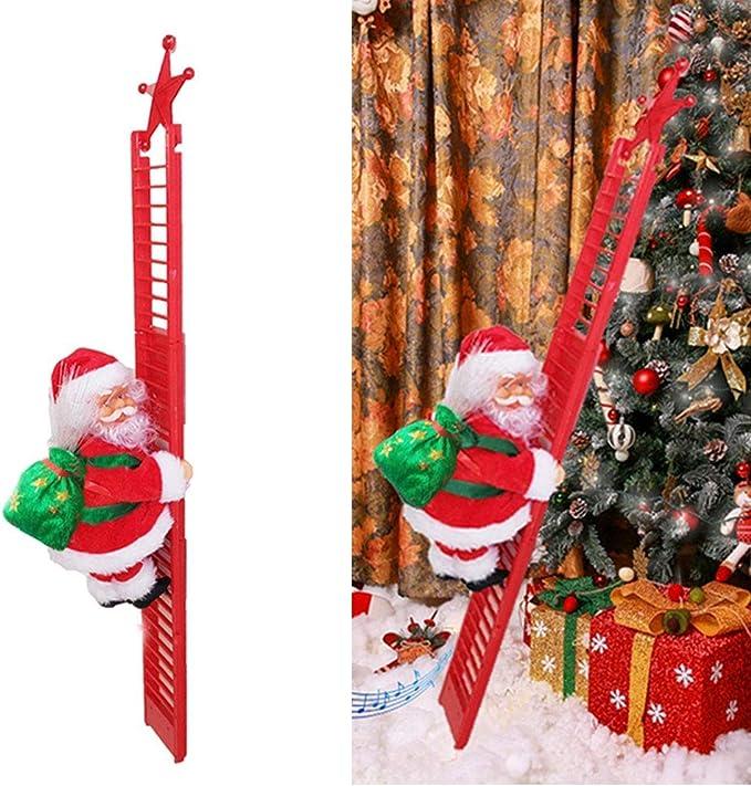 LIWEIXKY Escalera de Escalada eléctrica Papá Noel con Luces ...
