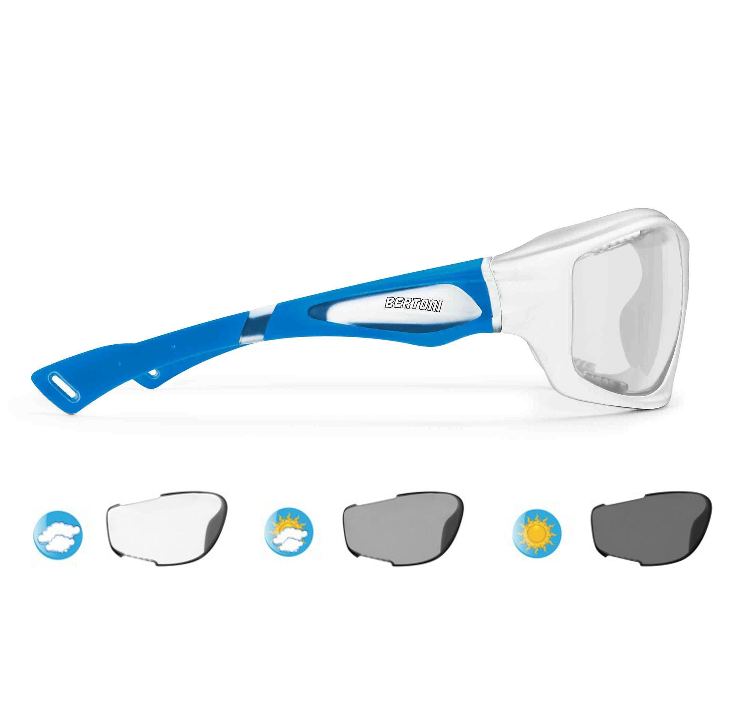 Bertoni Sport Sunglasses Photochromic cat. 0-3 Antifog for Cycling Running Golf Ski Watersports - F1000 Wraparound Windproof Glasses (Shiny White/Mat Blue, Photochromic Antifog)