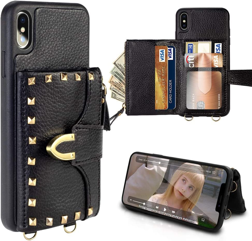 """iPhone XS Max Wallet Case 6.5"""", ZVE iPhone XS Max Case with Credit Card Holder Slot Crossbody Wallet Case Rivet Design Purse Wrist Strap Protective Case Cover for Apple iPhone XS Max, 6.5 inch - Black"""