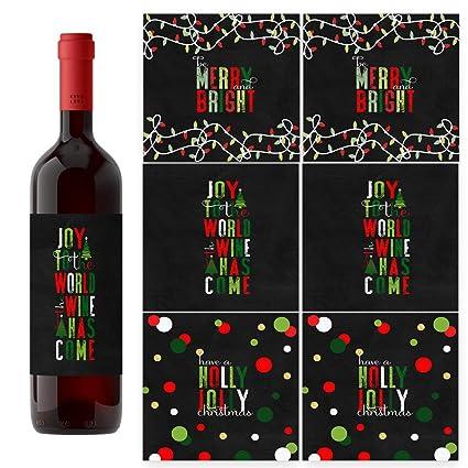 Amazon Com Jolly Fun Christmas Wine Bottle Labels Set Of 6