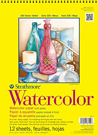 "Strathmore 360 9 300 Series Watercolor Pad, Cold Press, 9""X12"" Wire Bound, 12 Sheets by Strathmore"