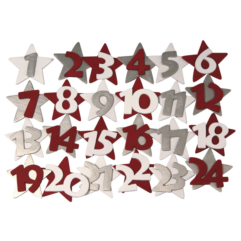 Rayher 5603800 - Números de madera para calendario de Adviento (4,5 cm, caja de PVC, 24 unidades) RAYHER HOBBY