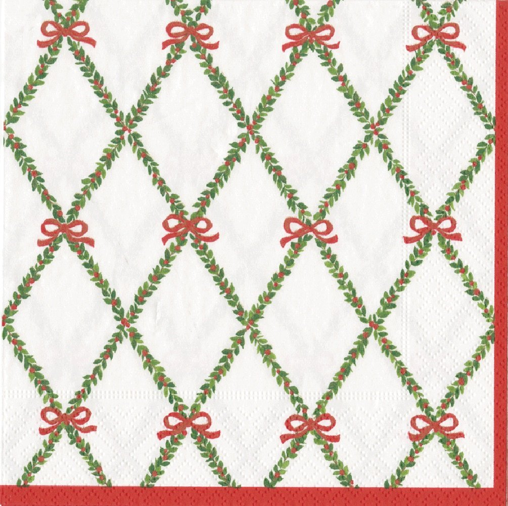Entertaining with Caspari Garland Trellis Luncheon Napkins, Green, Pack of 20