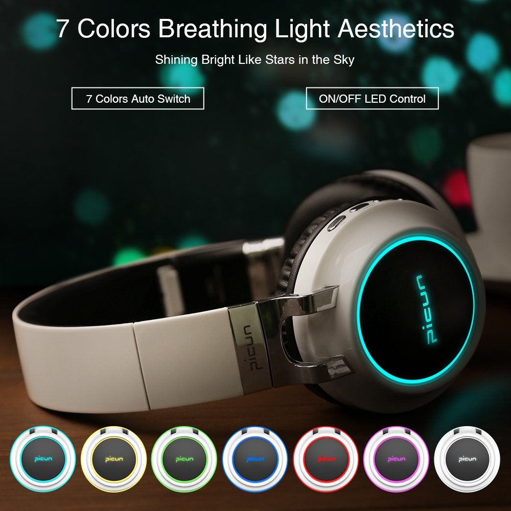 Picun Bluetooth Wireless Headphones LED Portable Bluetooth Headsets Support 7 Colors Lights 20 Hour