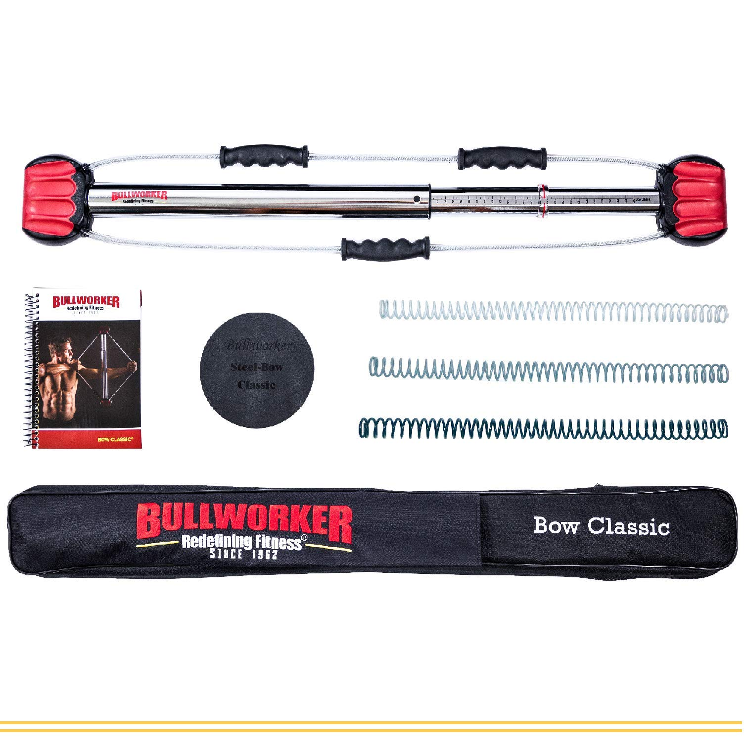 Bullworker 36'' Bow Classic -Full Body Workout- Portable Home Gym Isometric Exercise Equipment for Fast Strength Training Gains. Cross Training Fitness; Chest, Back, Arms, and Abs Exercise Machine by Bullworker (Image #1)