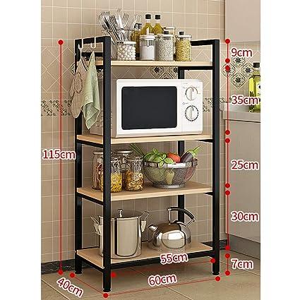 Amazon.com: QFFL Kitchen Shelves, Microwave Oven Stand ...