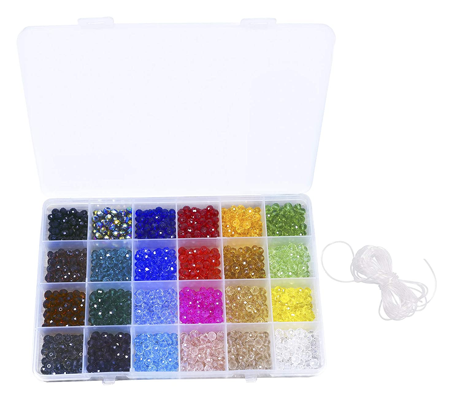 Shapenty 24 Colors 6mm Decorative Hand Briolette Faceted Rondelle Crystal Glass Beads with Hole for DIY Craft Bracelet Necklace Jewelry Making, 1200 Pieces/Box 4336814761
