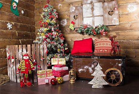 Leyiyi 9x6ft Merry Christmas Room Decor Backdrop Rustic Wooden Cottage Reindeer Xmas Tree Snowflake Socks Pine