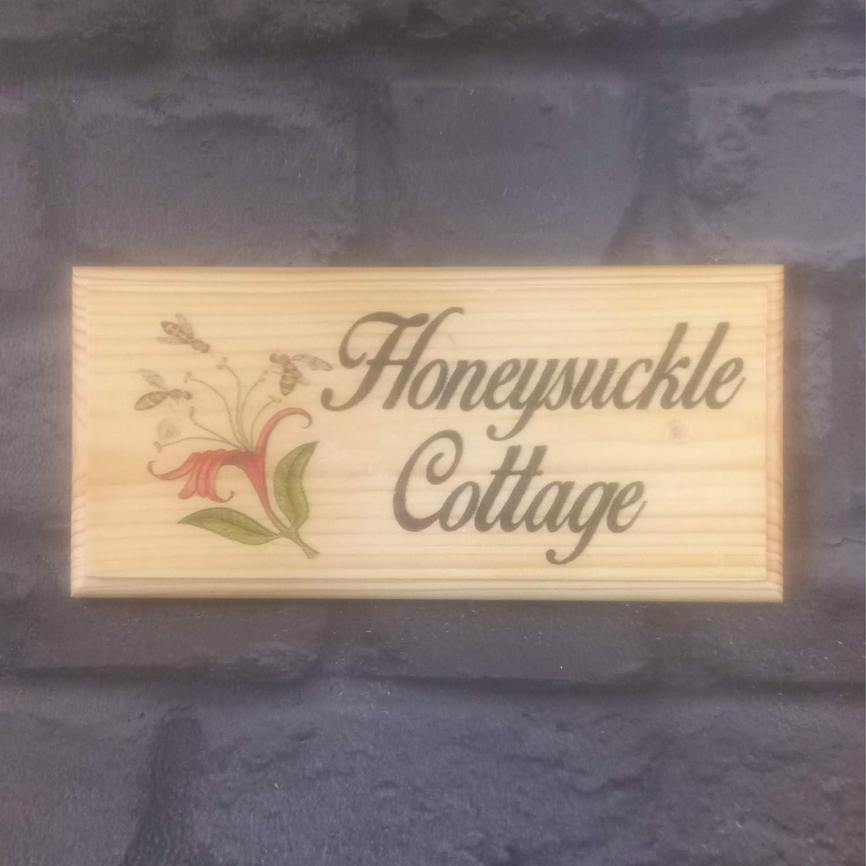 Personalised Honeysuckle Plaque/Sign / Gift Handmade House Name Number Door Flowers Garden Cottage Sign-Design-x