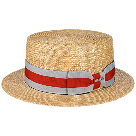 Men's Vintage Style Hats Stetson Wheat Boater Straw Hat Women/Men $78.82 AT vintagedancer.com