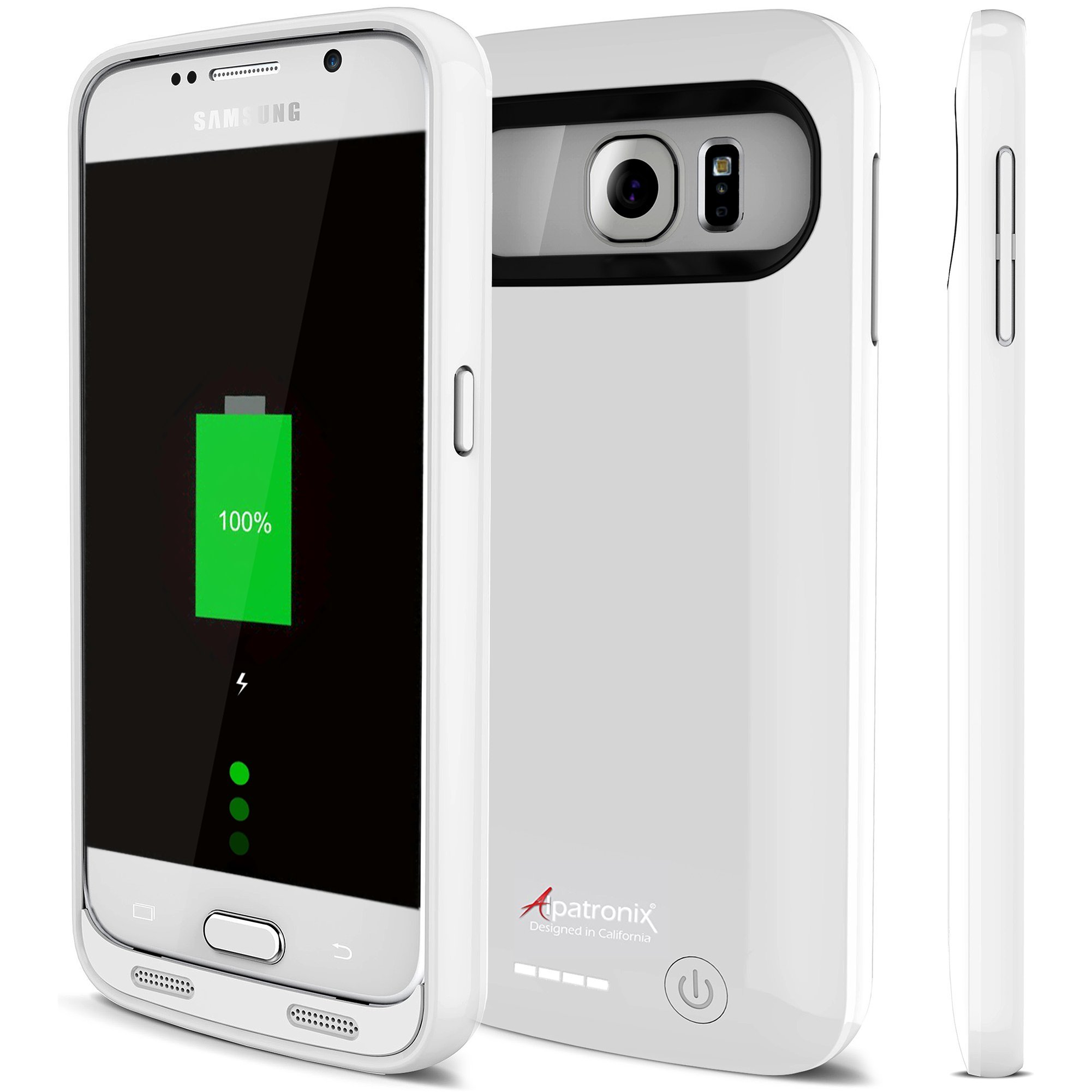 Galaxy S6 Battery Case, Alpatronix BX410 3500mAh Slim External Protective Removable Rechargeable Portable Charging Case for Samsung Galaxy S6 Juice Bank Power Pack [Android OS 8.0+ (Oreo)] - White