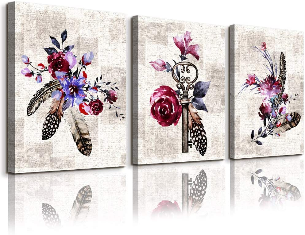 Modern Flowers Canvas Wall Art for Bedroom,Wall Decorations for Living Room,Bathroom Wall Decor,3 Panels Wall Painting Home Decoration Kitchen Canvas Print Feathers and Roses Artwork Wall Mural