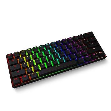 61 teclas teclado mecánico, Full RGB retroiluminación PBT teclas para PC, portátil, Smartphone, Pad, Tablet (marrón interruptor, negro): Amazon.es: ...