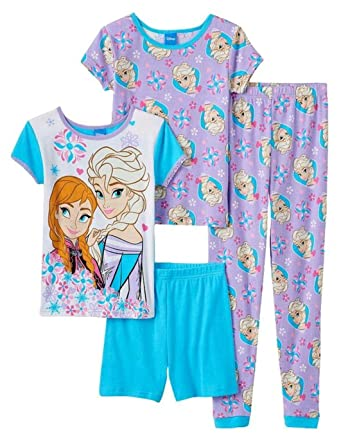 062e6edf5 Amazon.com: Disney Frozen Girls Elsa Anna 4 Piece Pajama Set, Multi ...