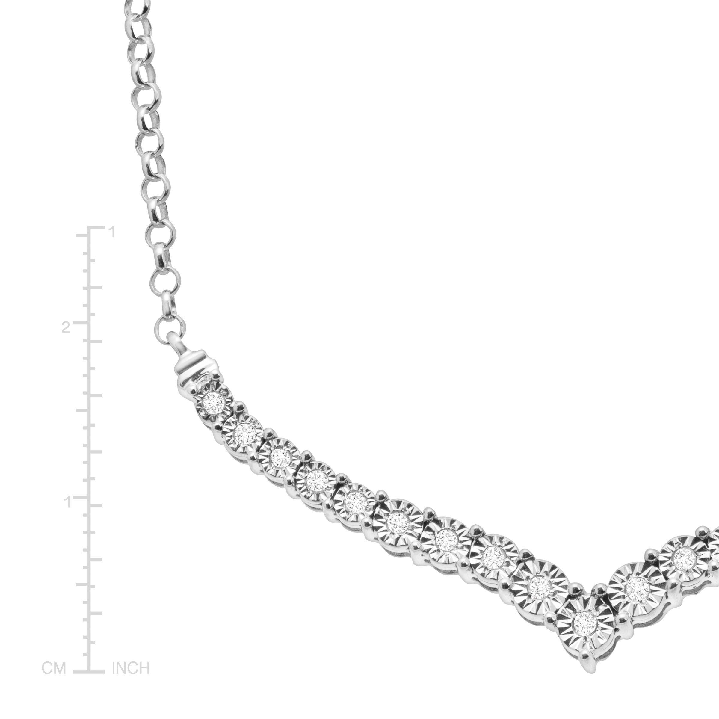1/4 ct Diamond Chevron Necklace in Sterling Silver by Finecraft (Image #2)
