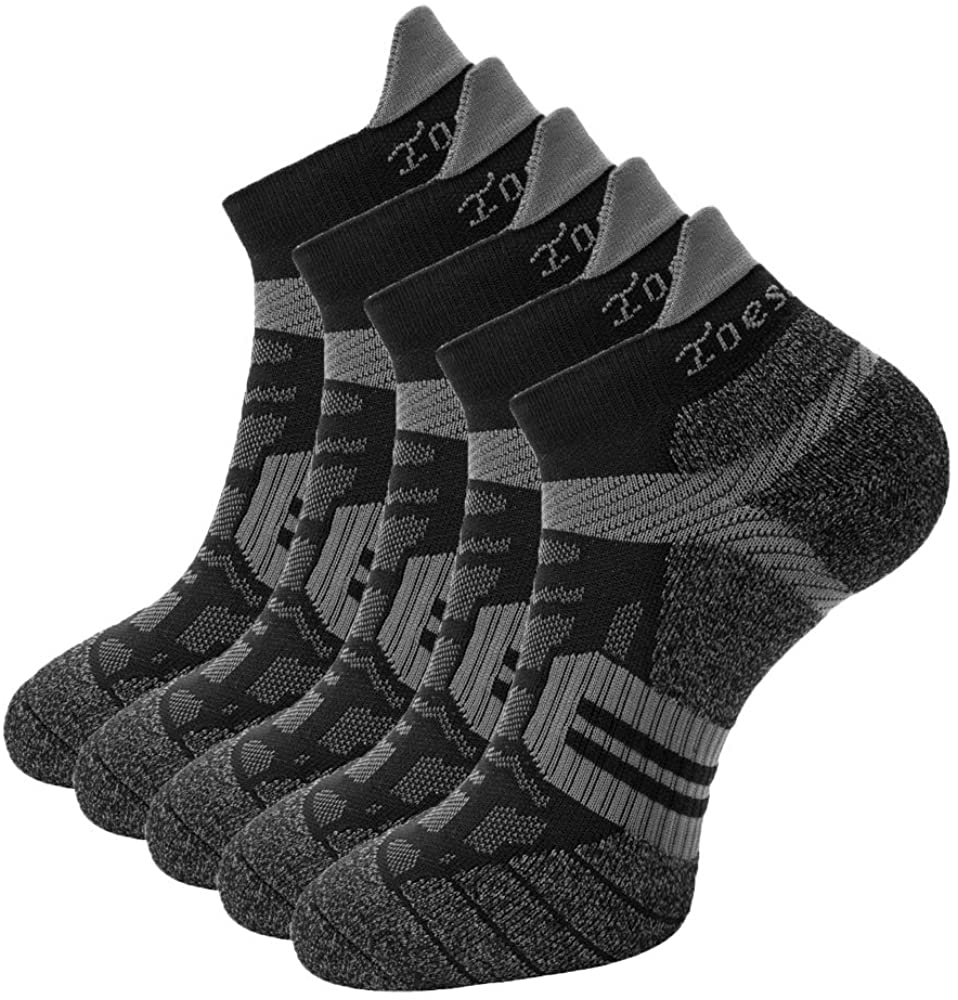 Toes&Feet Men's Anti Odor Quick-Dry Cushion Low-Cut Compression Running Socks