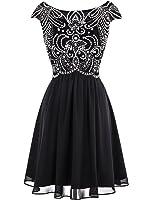ALAGIRLS Short Beading Prom Dress Chiffon Cap Sleeves Homecoming Dress