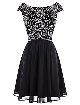 ALAGIRLS Short Beading Prom Dress Chiffon Cap Sleeves Evening Dress Black 6