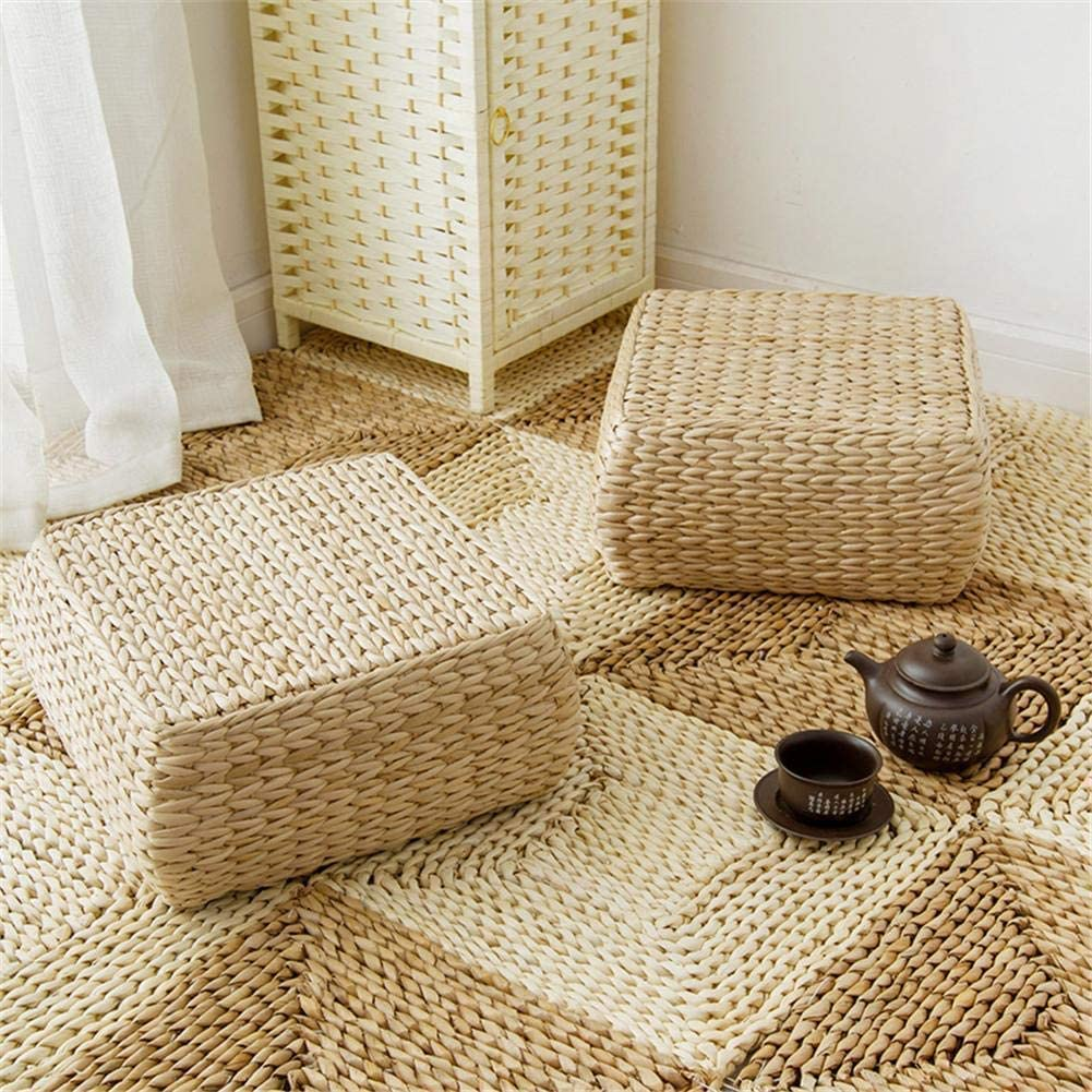 Image ABMOS Poggiapiedi Pouf Sgabello Tessuto Rattan Quadrato Cuscino Tatami Giardino Sala da Pranzo Pratica Decorazione