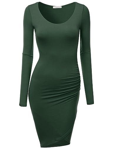 J.TOMSON Women's Casual 3/4 & Long Sleeve Bodycon Midi Dress