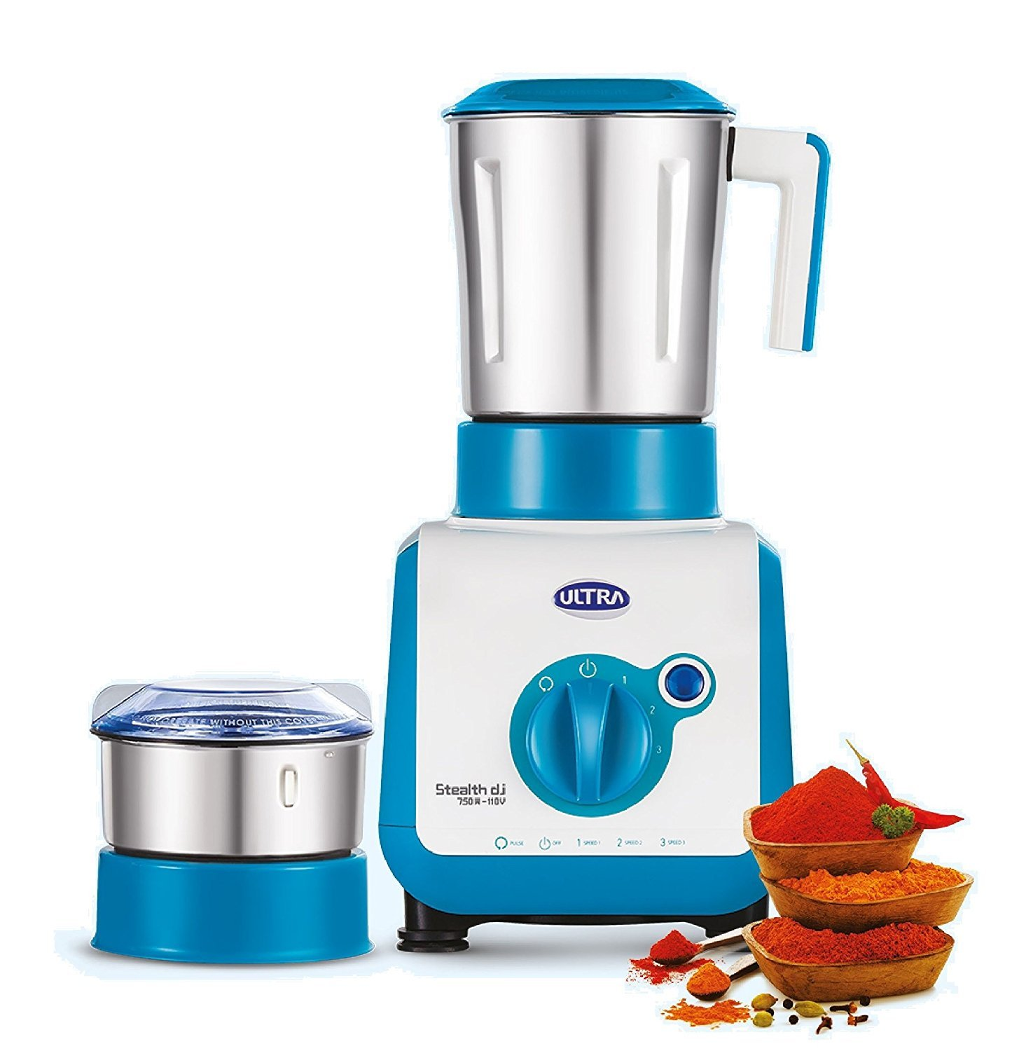 Ultra Stealth 750-Watt 2 Jar Mixer Grinder, 110 Volts