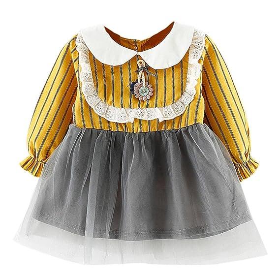 Vestido para Niñas, K-youth® Bebé Chica Vestido Ropa Manga Larga Fiesta Vestidos