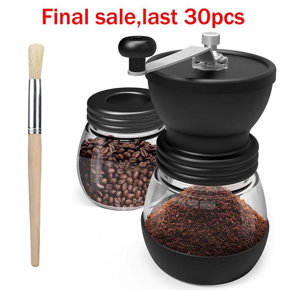 Manual Coffee Mill Grinder with Conical Ceramic Burr, Coffee Grinder Accessories with Two Clear Glass Jars, Stainless Steel Handle and Silicon Cover